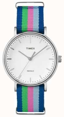 Timex Las señoras de fin de semana Fairfax, azul, rosa correa verde TW2P91700