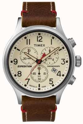 Timex Para hombre de línea de crema cronógrafo explorador TW4B04300
