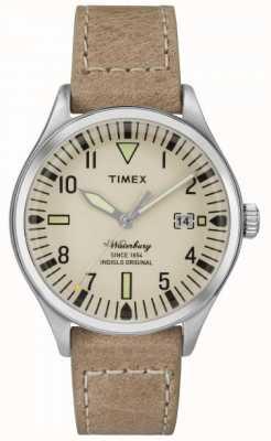 Timex Unisex la crema Waterbury de línea correa de color beige TW2P84500