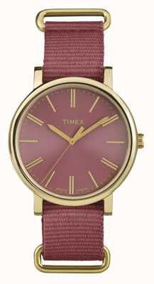 Timex Correa de tela rosa rosa unisex TW2P78200
