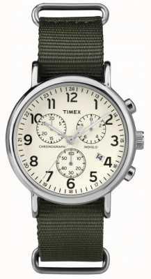 Timex de fin de semana unisex de línea crema cronógrafo TW2P71400