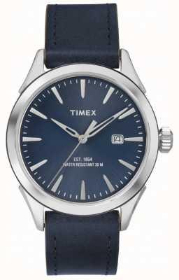 Timex Cuero azul de chesapeake para hombre TW2P77400