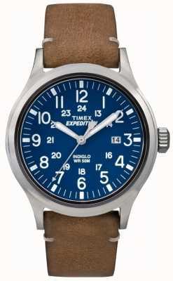 Timex Para hombre de la correa de cuero marrón esfera azul explorador TW4B01800