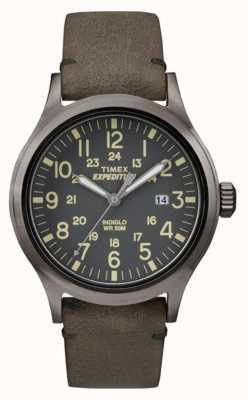 Timex Mens marcar correa de cuero gris negro explorador TW4B01700