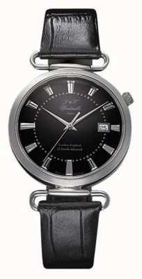 J&T Windmills Reloj mecánico throgmorton para hombre, esfera negra, plata esterlina WGS10005/04