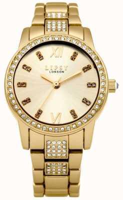 Lipsy Chapado en oro para mujer esfera de oro pulsera de acero inoxidable LP463