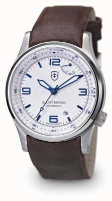 Elliot Brown Mens blanco tyneham cuero marrón display displaycase 305-D04-L14