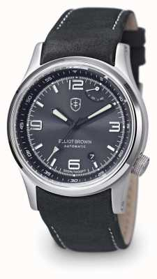 Elliot Brown Pantalla de cuero negro para hombre de Tyneham color gris 305-D05-L15