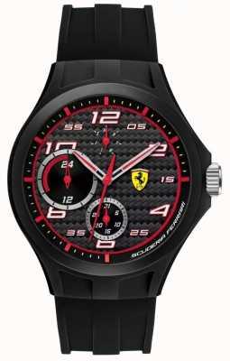 Scuderia Ferrari tiempo de vuelta para hombre del dial negro correa de caucho negro 0830290
