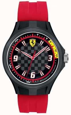 Scuderia Ferrari Mens pit tripulación correa de caucho rojo esfera negra 0830282