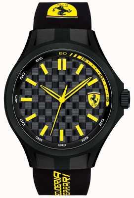 Scuderia Ferrari Mens equipo de mecánicos correa de caucho negro esfera de color negro 0830286