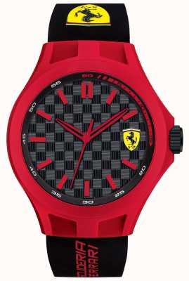 Scuderia Ferrari Hombres de pit tripulación correa de caucho negro caja roja dial negro 0830287