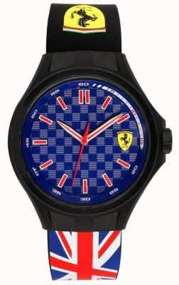 Scuderia Ferrari Hombres de la tripulación de la tripulación de la bandera de la unión de caucho correa azul dial 0830351