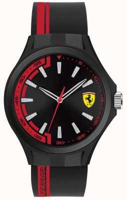 Scuderia Ferrari Hombres de pit tripulación negro correa de caucho negro dial negro caso 0830367