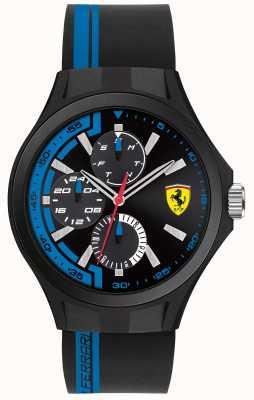 Scuderia Ferrari Mens pit tripulación correa de caucho negro esfera negra 0830368