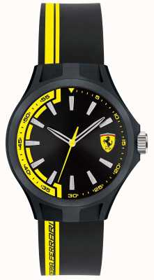 Scuderia Ferrari Hombre pit tripulación negro correa de caucho negro dial negro caso 0840012