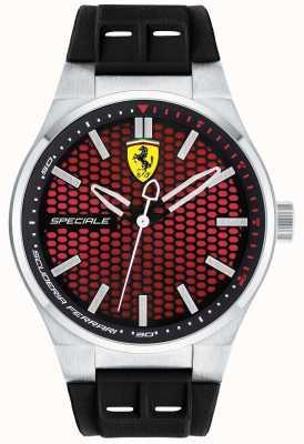 Scuderia Ferrari Mens speciale correa de caucho negro esfera roja 0830353