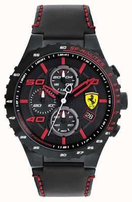Scuderia Ferrari Mens Speciale esfera de color negro correa de cuero negro evo 0830363
