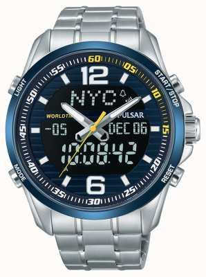 Pulsar Mens acelerador CMR hora dual cronógrafo alarma de hora mundial PZ4003X1