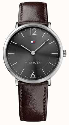 Tommy Hilfiger Mens James esfera de color negro correa de piel marrón 1710352
