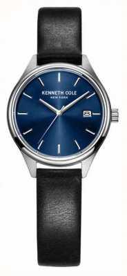 Kenneth Cole Correa de cuero negro de la mujer dial azul KC10030839
