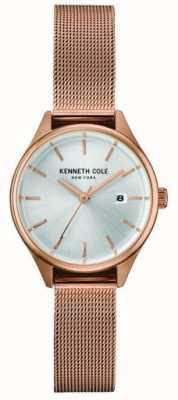 Kenneth Cole Womens rosa de oro tono de acero inoxidable malla de plata dial KC10030842