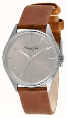 Kenneth Cole Correa de cuero marrón mujer plata dial KC10026626