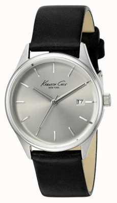 Kenneth Cole Correa de cuero negro de la mujer plata dial KC10025930