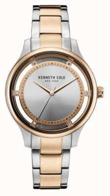 Kenneth Cole Mujer de dos tonos de acero inoxidable pulsera esfera de plata KC10030798