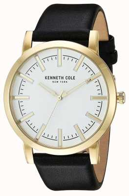 Kenneth Cole Mens correa de cuero negro esfera blanca KC10030810
