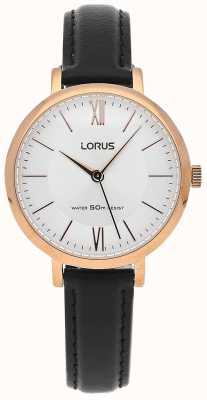 Lorus Para mujer de cuero negro reloj de plata de la correa RG264LX9