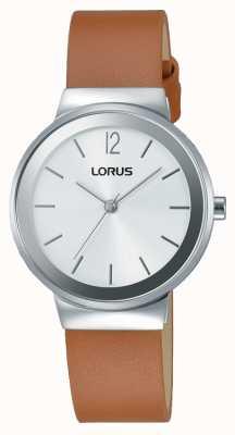 Lorus Para mujer de cuero marrón reloj de plata de la correa RG249LX9