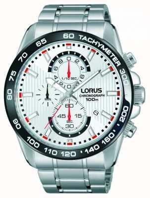Lorus Para hombre del cronógrafo esfera blanca pulsera de acero inoxidable RM379CX9