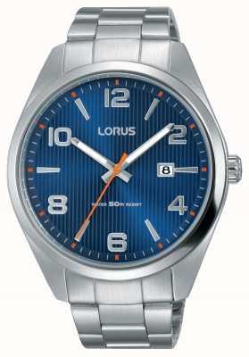 Lorus Mens esfera azul brazalete de acero inoxidable RH961GX9
