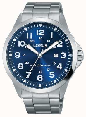 Lorus Mens de acero inoxidable pulsera azul dial RH925GX9