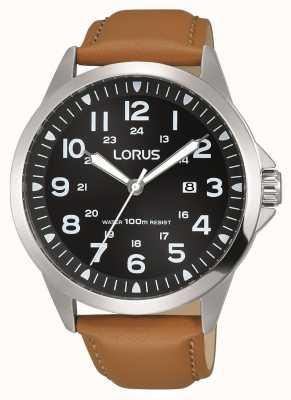 Lorus Mens caja de acero inoxidable de línea negro correa de piel marrón RH933GX9