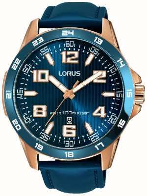 Lorus Mens azul correa de cuero azul dial RH908GX9