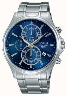 Lorus Mens esfera azul brazalete de acero inoxidable RM309DX9