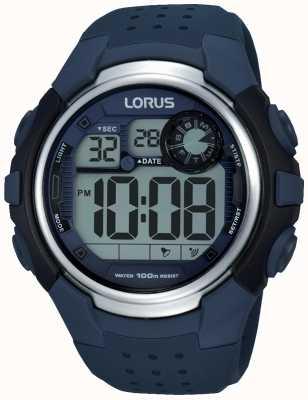 Lorus correa de goma azul para hombre del cronógrafo de la alarma R2387KX9