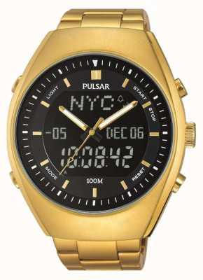 Pulsar alarma para hombre de oro tono de marcado negro de acero inoxidable PZ4012X1