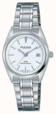 Pulsar Para mujer esfera blanca pulsera de acero inoxidable PH7439X1