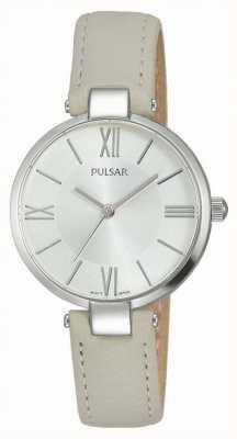 Pulsar Para mujer de cuero marrón reloj de plata de la correa PH8245X1