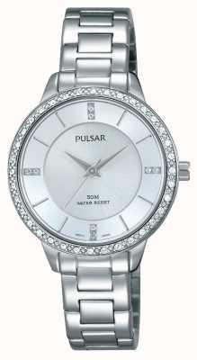 Pulsar Para mujer esfera de plata pulsera de acero inoxidable PH8213X1
