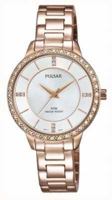 Pulsar Mujeres rosa de acero inoxidable reloj de plata de tono de oro PH8220X1
