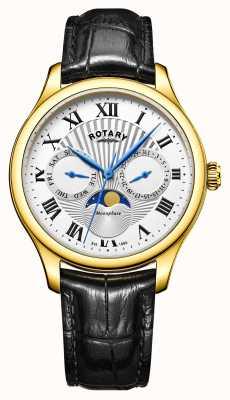 Rotary Fase lunar para hombre de plata de cuero negro caso marcar el tono de oro GS05066/01