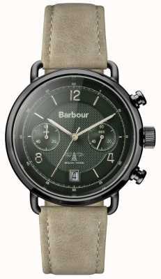 Barbour correa de cuero para hombre de color caqui Salisbury línea verde BB053GRKH