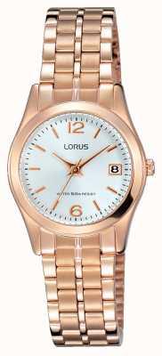 Lorus Mujeres rosa de oro tono de acero inoxidable esfera blanca RH732BX9