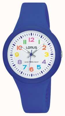 Lorus esfera blanca correa de caucho azul unisex RRX45EX9