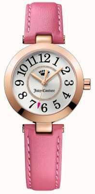 Juicy Couture Para mujer reloj de plata de la correa de cuero de color rosa cali 1901463