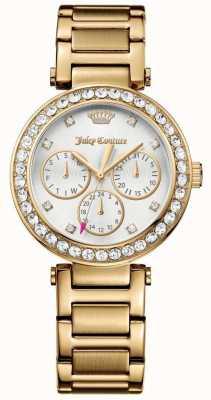 Juicy Couture Dial blanco de acero inoxidable cali dorado para mujer 1901504